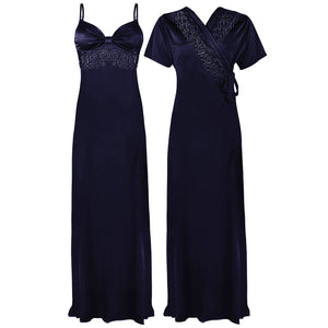 Colour: Navy 2 Pcs Strappy Lace Long Nighty With Robe Size: One Size
