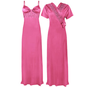 Colour: Pink 2 Pcs Strappy Lace Long Nighty With Robe Size: One Size