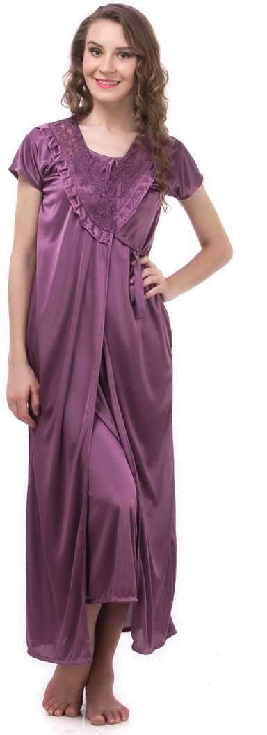 Women's Satin Lace Long Nightdress Nighty Chemise Gown Robe PURPLE, 8, 10, 12, 14