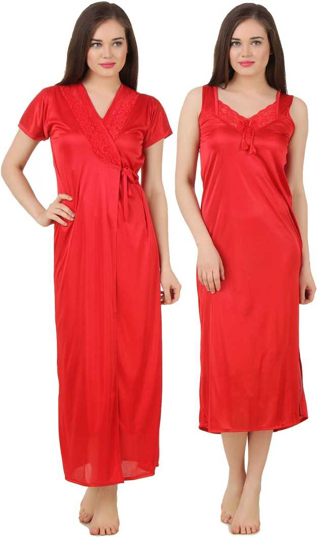 Women 2 Pieces Satin Dressing Gown Nightdress, Sexy Ladies Kimono Robe RED, ONE SIZE 12