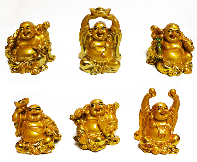 Feng Shui 3'' Golden Laughing Buddha Statue Figurines Set of 6 [colour]- Hautie UK, #Nightfashion | #Underfashion