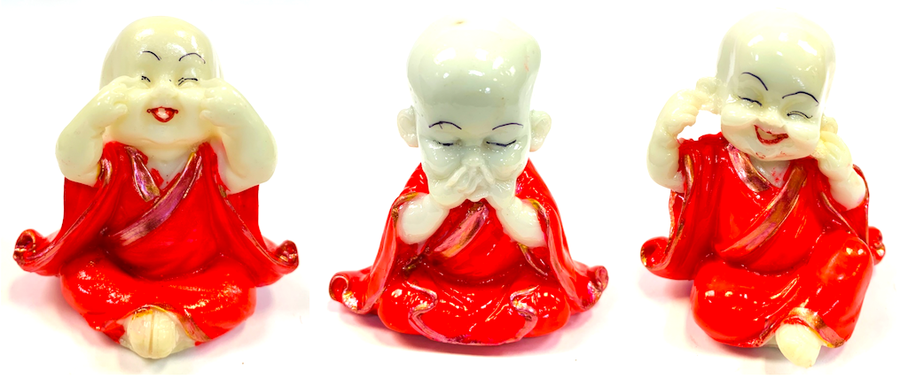 3 Pcs set Resin Wise Buddha Hear/Speak/See No Evil Monk Stone Statue [colour]- Hautie UK, #Nightfashion | #Underfashion