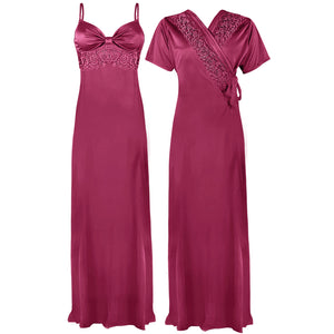 Colour: Rose Pink 2 Pcs Strappy Lace Long Nighty With Robe Size: One Size