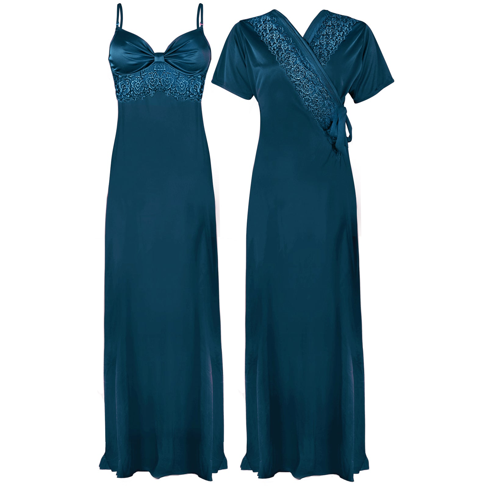 Colour: Teal 2 Pcs Strappy Lace Long Nighty With Robe Size: One Size