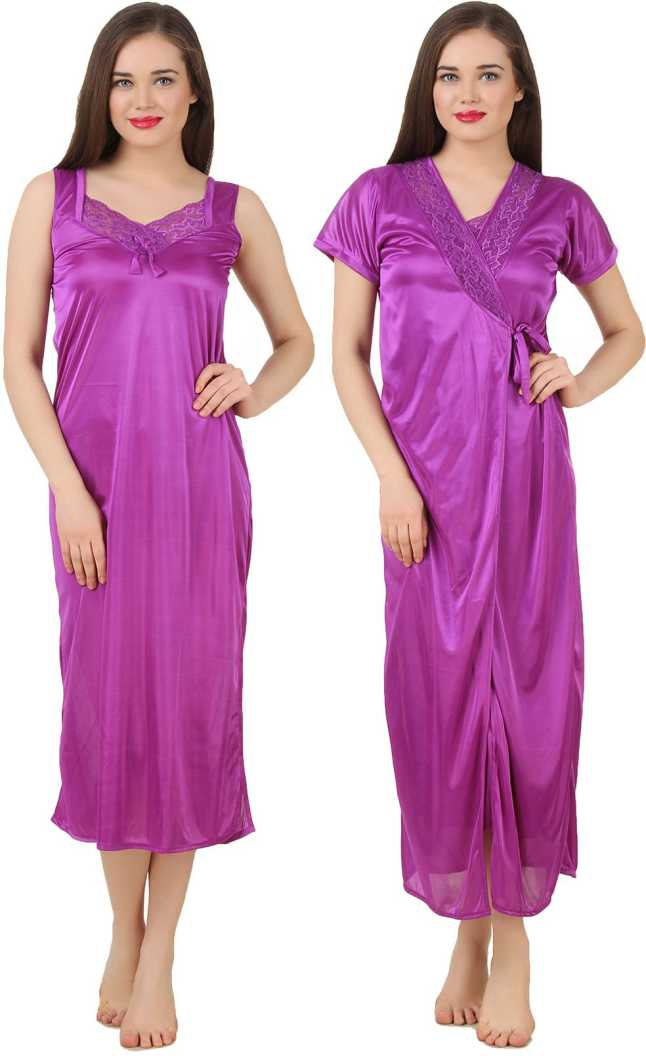 Women 2 Pieces Satin Dressing Gown Nightdress, Sexy Ladies Kimono Robe PINK, ONE SIZE 12