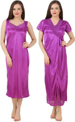 Afbeelding in Gallery-weergave laden,   Women 2 Pieces Satin Dressing Gown Nightdress, Sexy Ladies Kimono Robe PINK, ONE SIZE 12