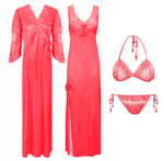 Load image into Gallery viewer, Designer Satin Nighty with Long Sleeve Robe 4 Pcs Set [colour]- Hautie UK, #Nightfashion | #Underfashion