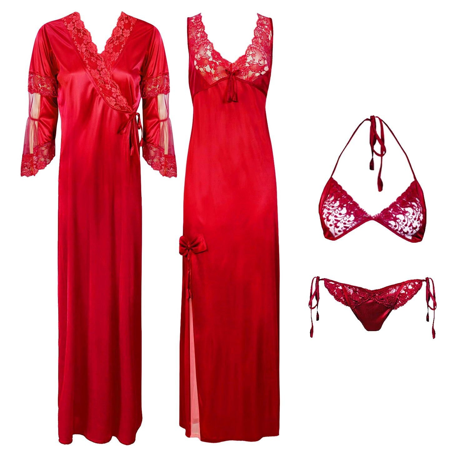 Designer Satin Nighty with Long Sleeve Robe 4 Pcs Set [colour]- Hautie UK, #Nightfashion | #Underfashion