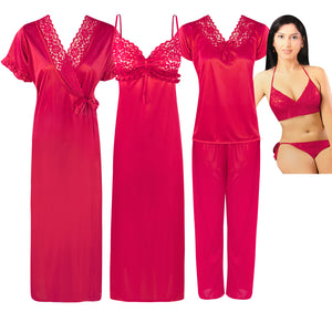 Color: Cerise 6 Pc Satin Nightwear Set Size: One Size