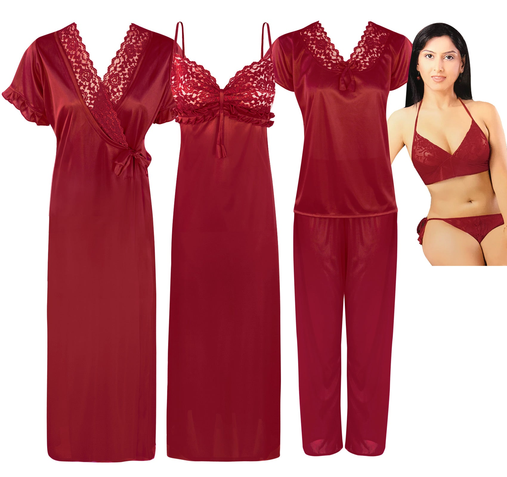 Color: Deep Red 6 Pc Satin Nightwear Set Size: One Size