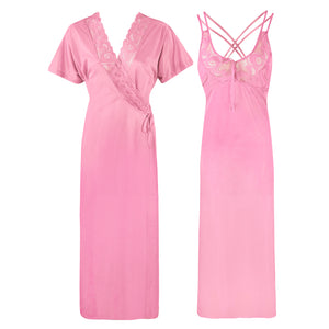 Womens Plus Size Nightdress 2 Pcs Set [colour]- Hautie UK, #Nightfashion | #Underfashion SIZE 16 18 20 BABY PINK
