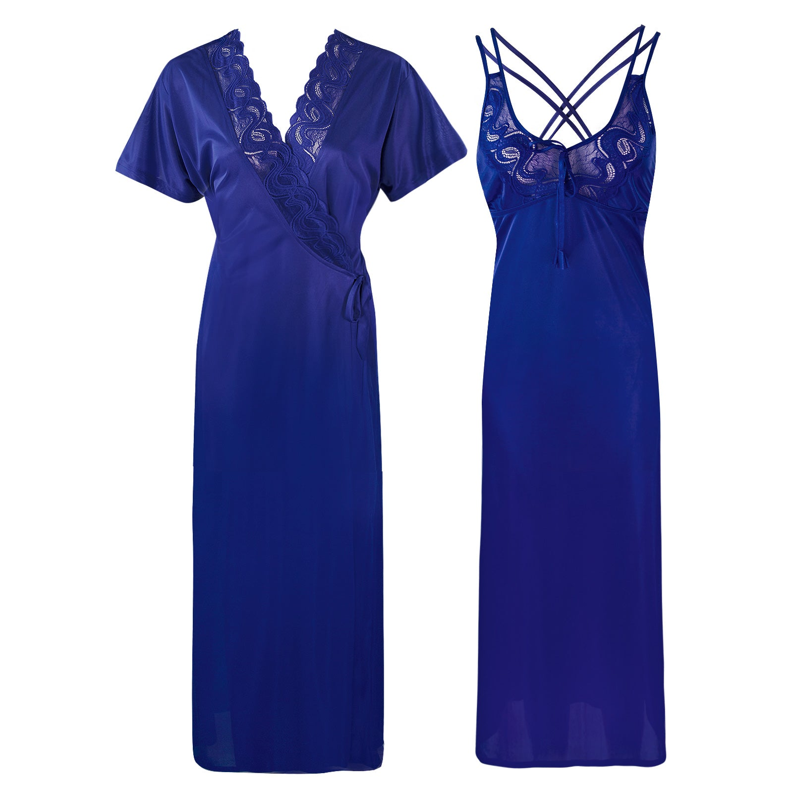 Womens Plus Size Nightdress 2 Pcs Set [colour]- Hautie UK, #Nightfashion | #Underfashion SIZE 16 18 20 BLUE
