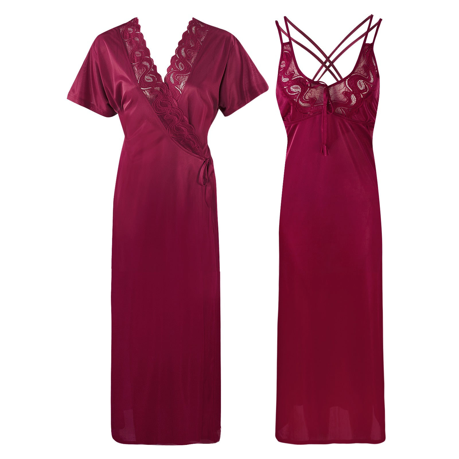 Womens Plus Size Nightdress 2 Pcs Set [colour]- Hautie UK, #Nightfashion | #Underfashion SIZE 16 18 20 DARK WINE