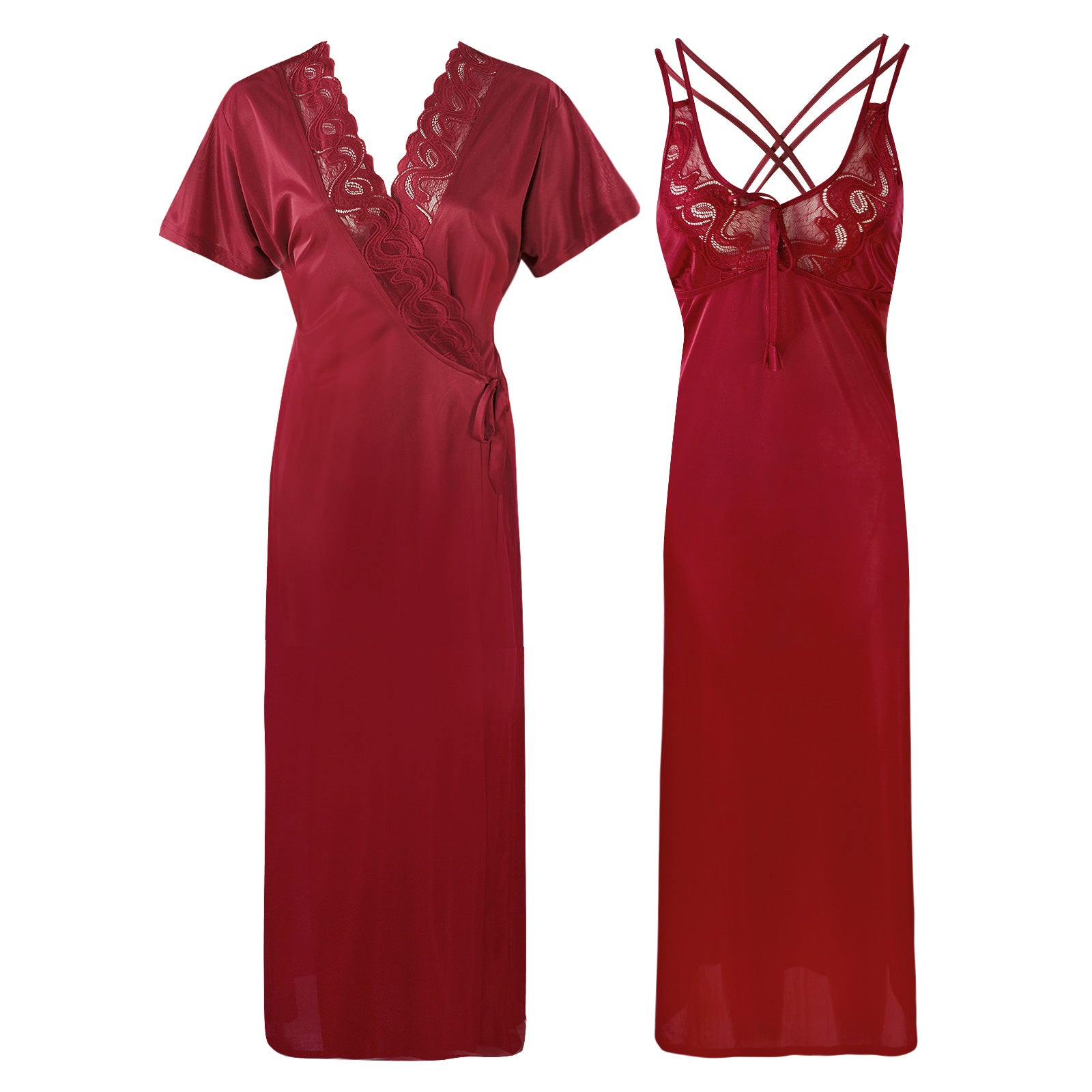 Womens Plus Size Nightdress 2 Pcs Set [colour]- Hautie UK, #Nightfashion | #Underfashion SIZE 16 18 20 DEEP RED