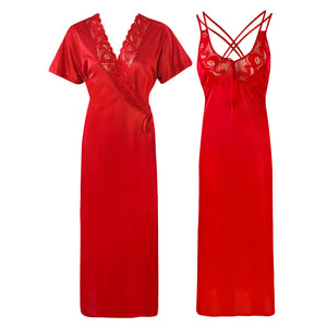 Womens Plus Size Nightdress 2 Pcs Set [colour]- Hautie UK, #Nightfashion | #Underfashion SIZE 16 18 20 RED