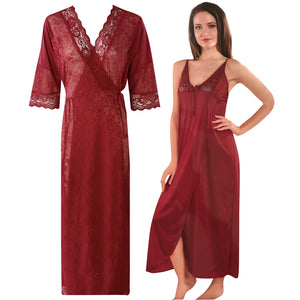 Womens 2 Pcs Satin Nightdress and Robe [colour]- Hautie UK, #Nightfashion | #Underfashion SIZE 8 10 12 14 16 DEEP RED
