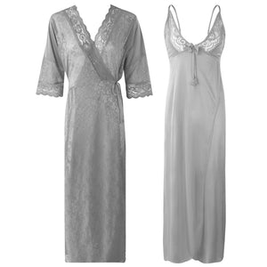 Womens 2 Pcs Satin Nightdress and Robe [colour]- Hautie UK, #Nightfashion | #Underfashion  SIZE 8 10 12 14 16 GREY