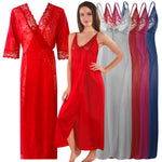Load image into Gallery viewer, Womens 2 Pcs Satin Nightdress and Robe [colour]- Hautie UK, #Nightfashion | #Underfashion