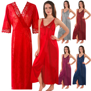 Womens 2 Pcs Satin Nightdress and Robe [colour]- Hautie UK, #Nightfashion | #Underfashion