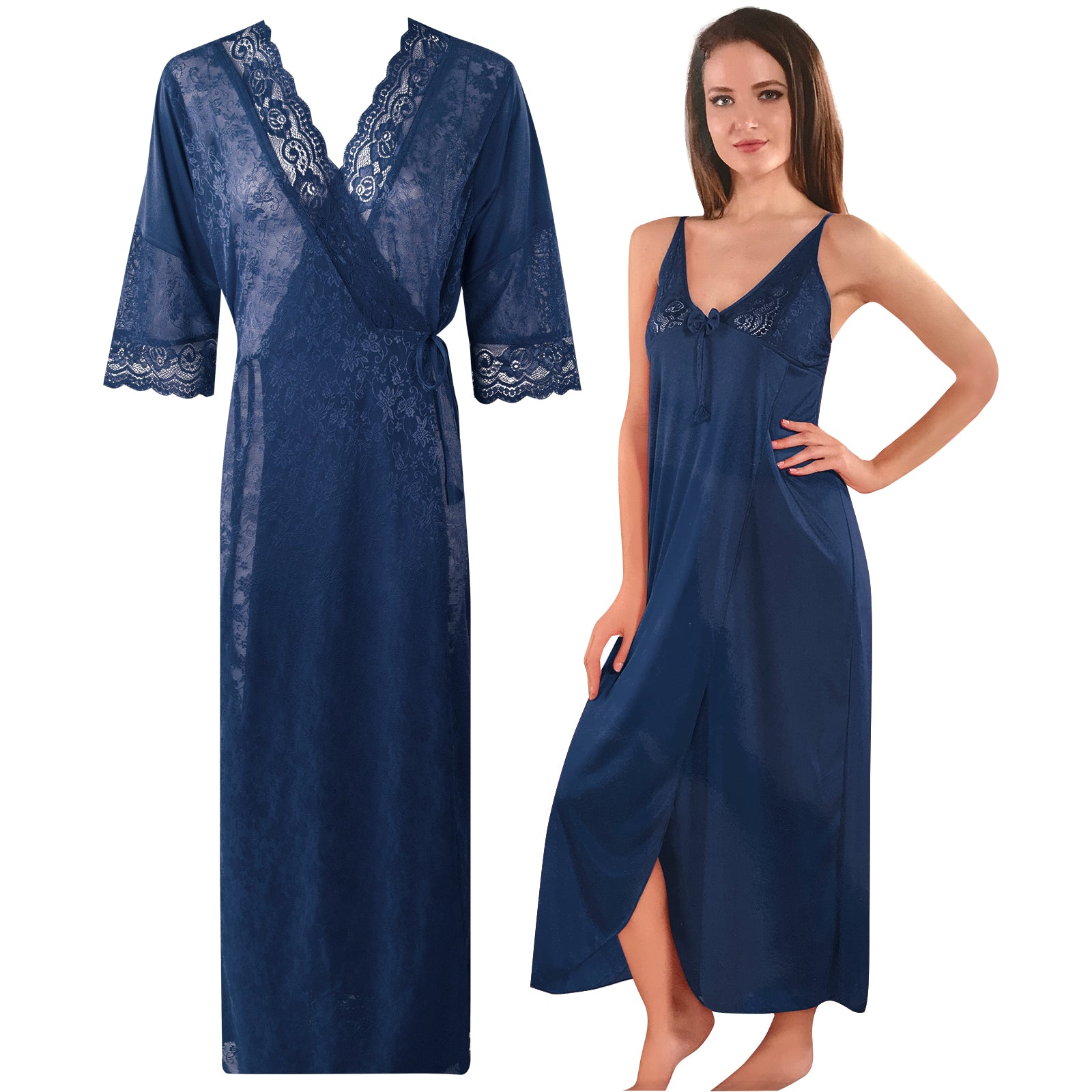 Womens 2 Pcs Satin Nightdress and Robe [colour]- Hautie UK, #Nightfashion | #Underfashion  SIZE 8 10 12 14 16 NAVY