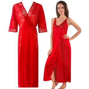 Womens 2 Pcs Satin Nightdress and Robe [colour]- Hautie UK, #Nightfashion | #Underfashion  SIZE 8 10 12 14 16 RED