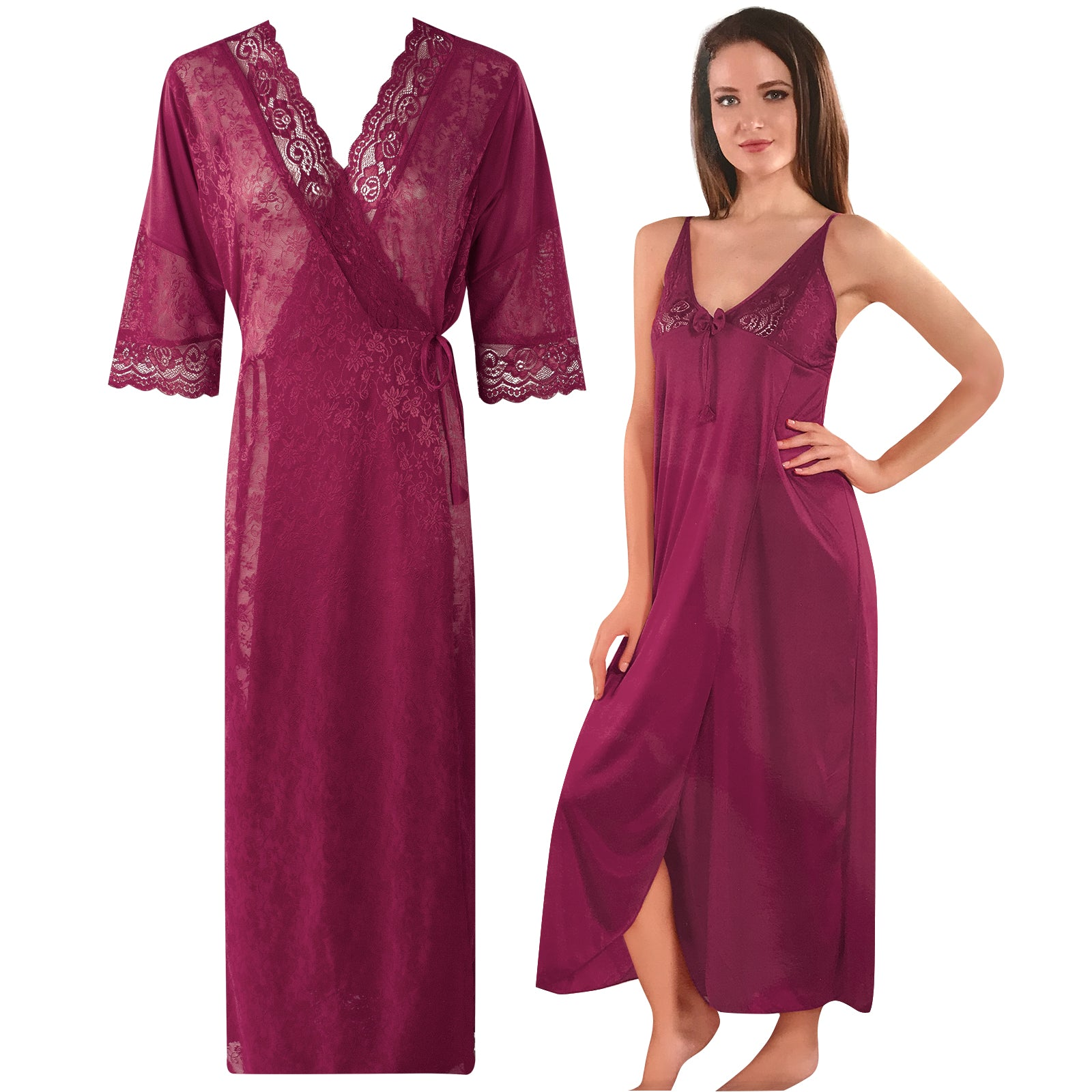 Womens 2 Pcs Satin Nightdress and Robe [colour]- Hautie UK, #Nightfashion | #Underfashion  SIZE 8 10 12 14 16 WINE
