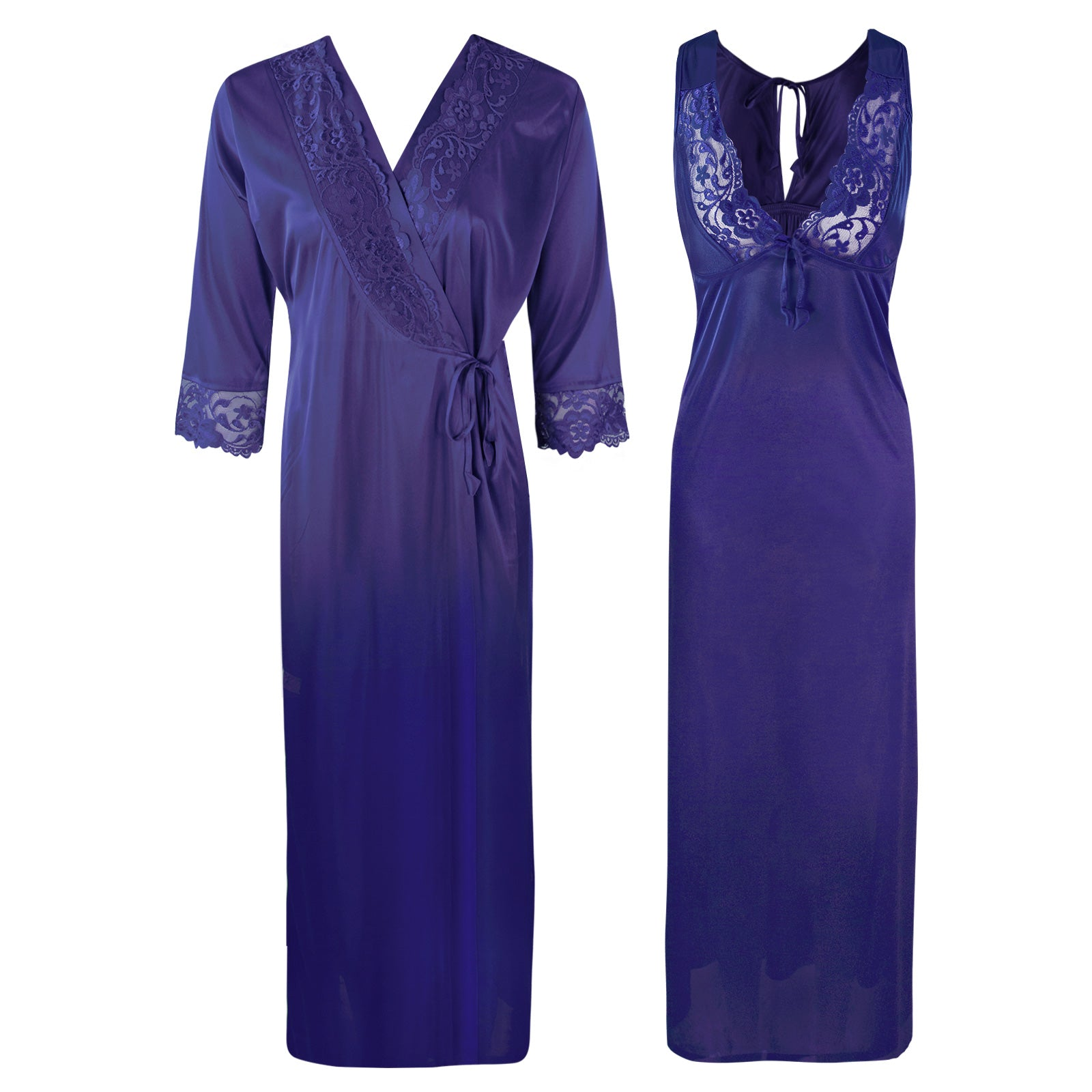 Sexy 2Pc Satin Lace Nightdress and Robe [colour]- Hautie UK, #Nightfashion | #Underfashion  SIZE 8 10 12 14 16 NAVY