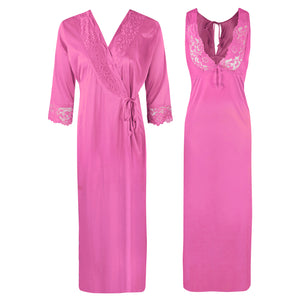 Sexy 2Pc Satin Lace Nightdress and Robe [colour]- Hautie UK, #Nightfashion | #Underfashion  SIZE 8 10 12 14 16 ROSE PINK