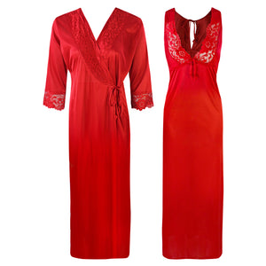 Sexy 2Pc Satin Lace Nightdress and Robe [colour]- Hautie UK, #Nightfashion | #Underfashion  SIZE 8 10 12 14 16  RED