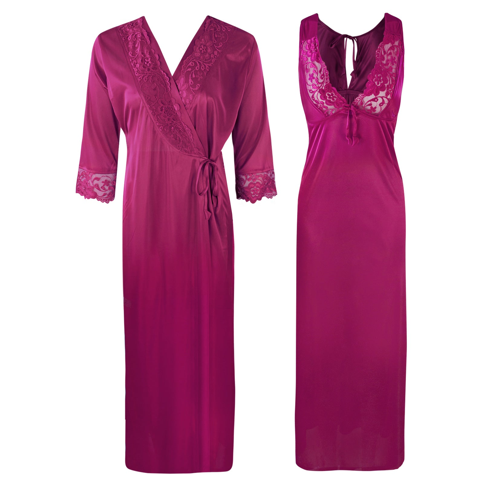 Sexy 2Pc Satin Lace Nightdress and Robe [colour]- Hautie UK, #Nightfashion | #Underfashion  SIZE 8 10 12 14 16 WINE