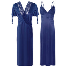 Load image into Gallery viewer, Plus Size 2 Pcs Satin Nighty And Robe/ Bathrobe [colour]- Hautie UK, #Nightfashion | #Underfashion