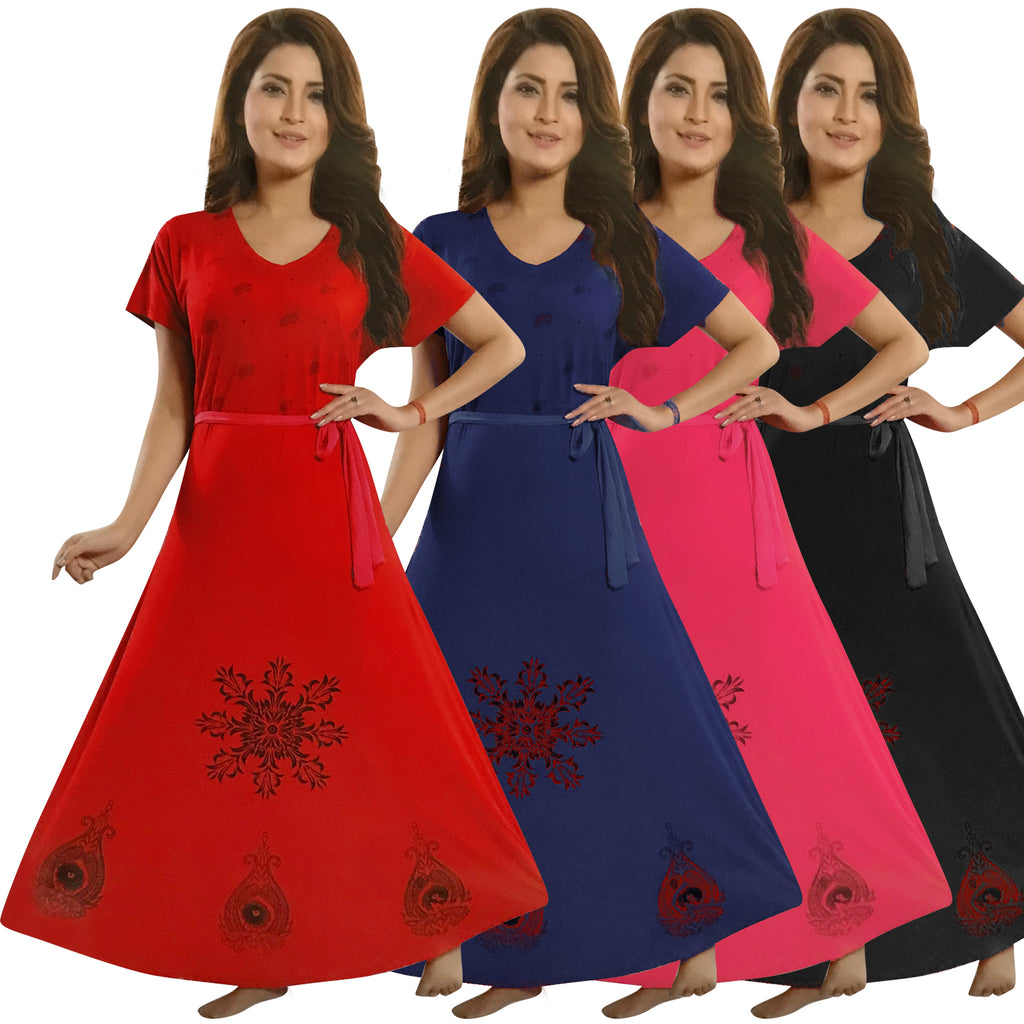 Colour: Red, Black, Blue, Pink Cotton Nightie Flared Nightdress Plus Size Size: XL