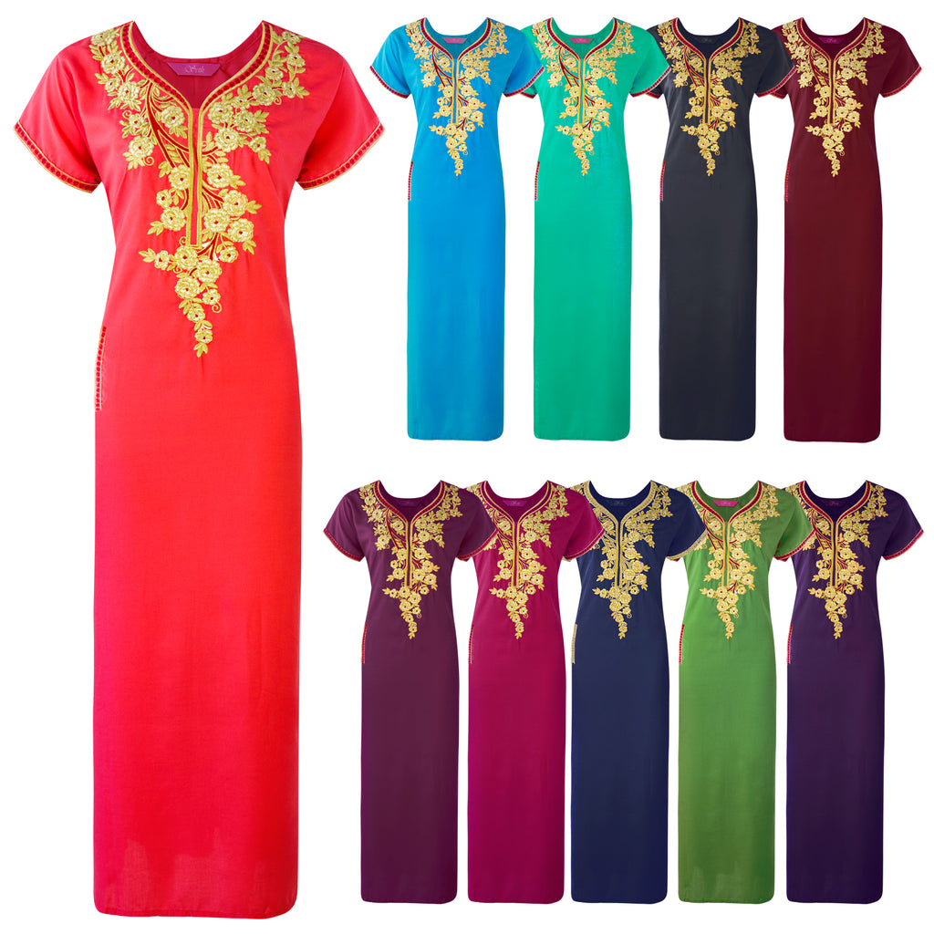 Colour: Green, Sky Blue, Black, Olive, Deep Red, Wine, Dark Purple, Purple, Navy, Coral 100% Cotton Embroidery detailed Long Nightdress Size: 14-18