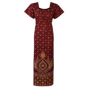 Indian Pakistani Cotton Stitched Nightdress [colour]- Hautie UK, #Nightfashion | #Underfashion To Fit (Size 16, 18, 20) DEEP RED