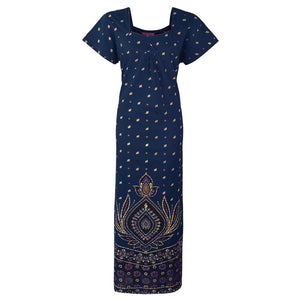 Indian Pakistani Cotton Stitched Nightdress [colour]- Hautie UK, #Nightfashion | #Underfashion To Fit (Size 16, 18, 20) NAVY