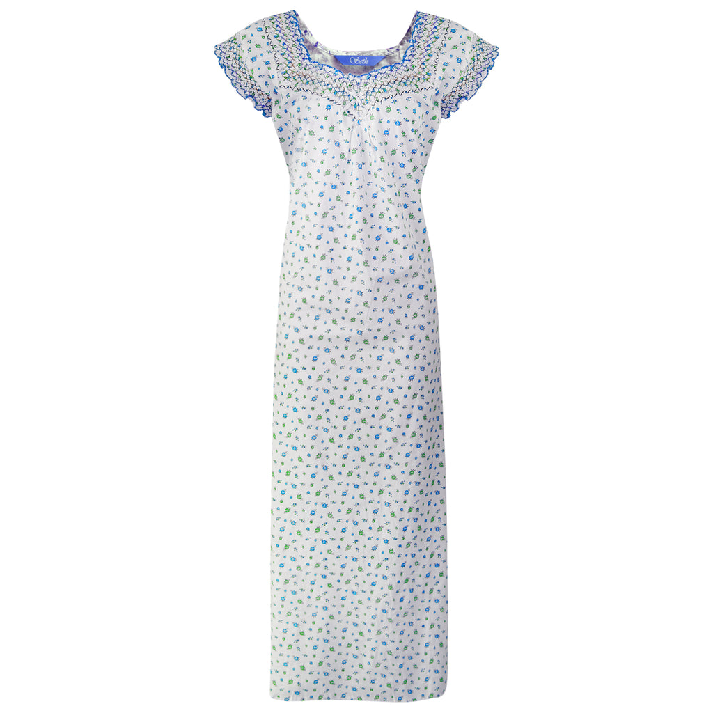 Colour: Blue 100% Cotton Nightdress Size: One Size