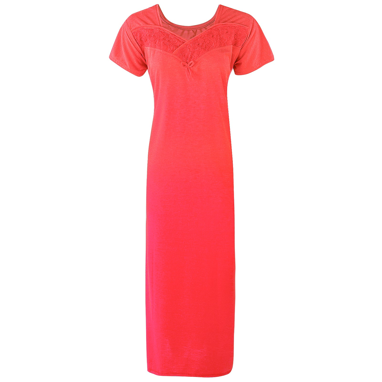 Colour: Coral Cotton Blend Comfy Jersey Nightdress Size: 12-16