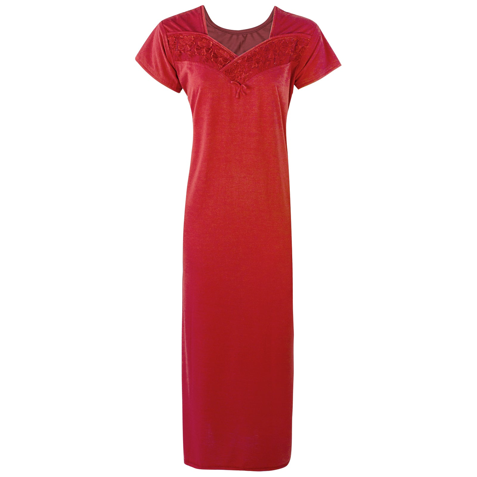 Colour: Deep Red Cotton Blend Comfy Jersey Nightdress Size: 12-16