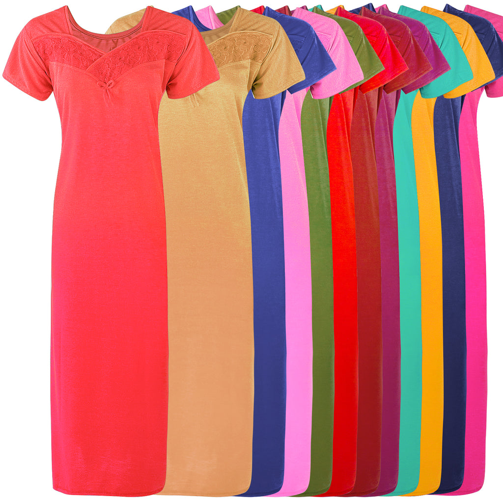 Colour: Stone, Blue, Baby Pink, Green, Pink, Navy, Teal, Mustard, Red, Coral, Deep Red, Wine Cotton Blend Comfy Jersey Nightdress Size: 12-16