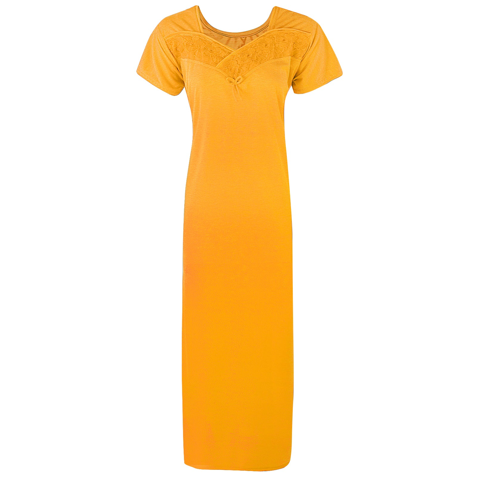Colour: Mustard Cotton Blend Comfy Jersey Nightdress Size: 12-16