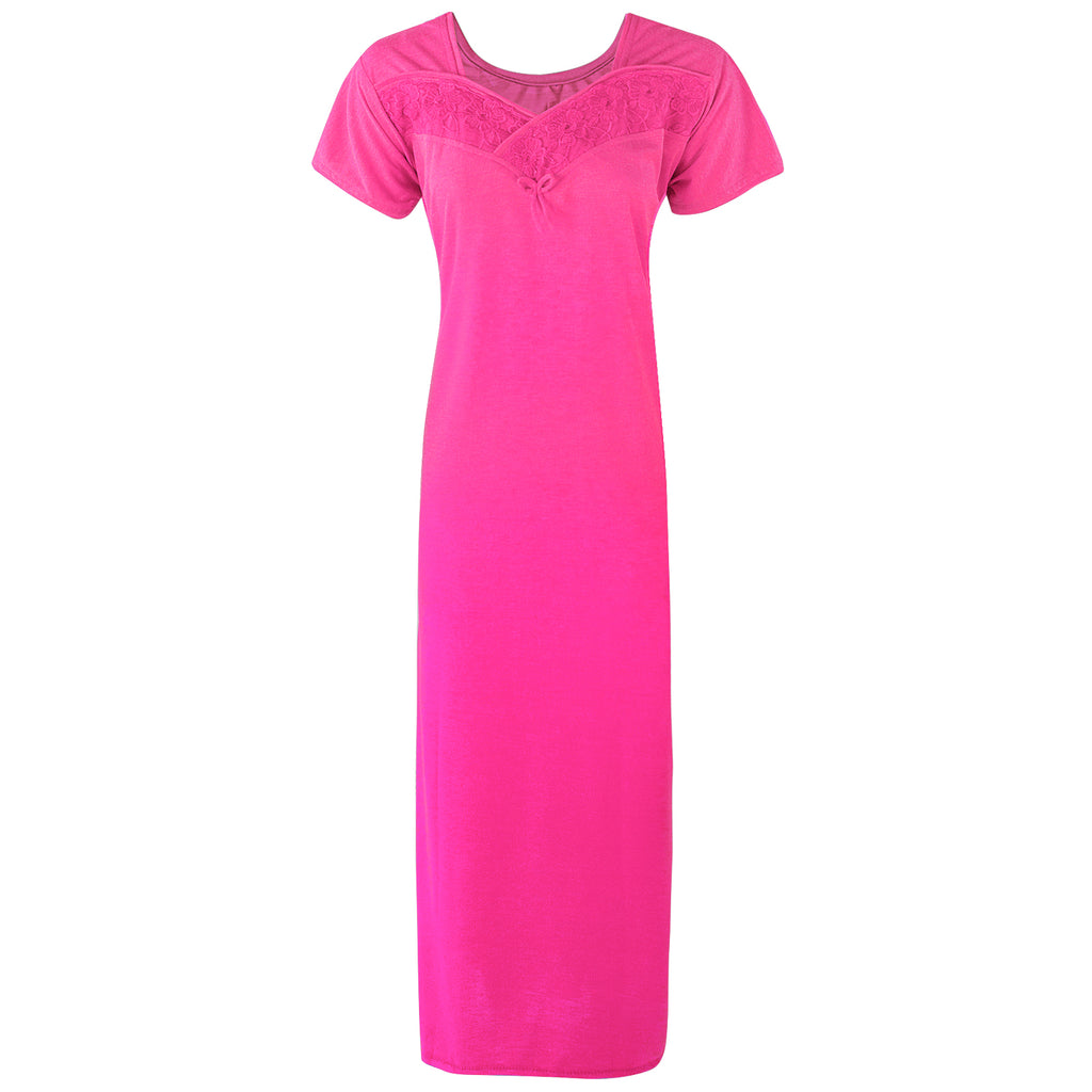 Colour: Pink Cotton Blend Comfy Jersey Nightdress Size: 12-16
