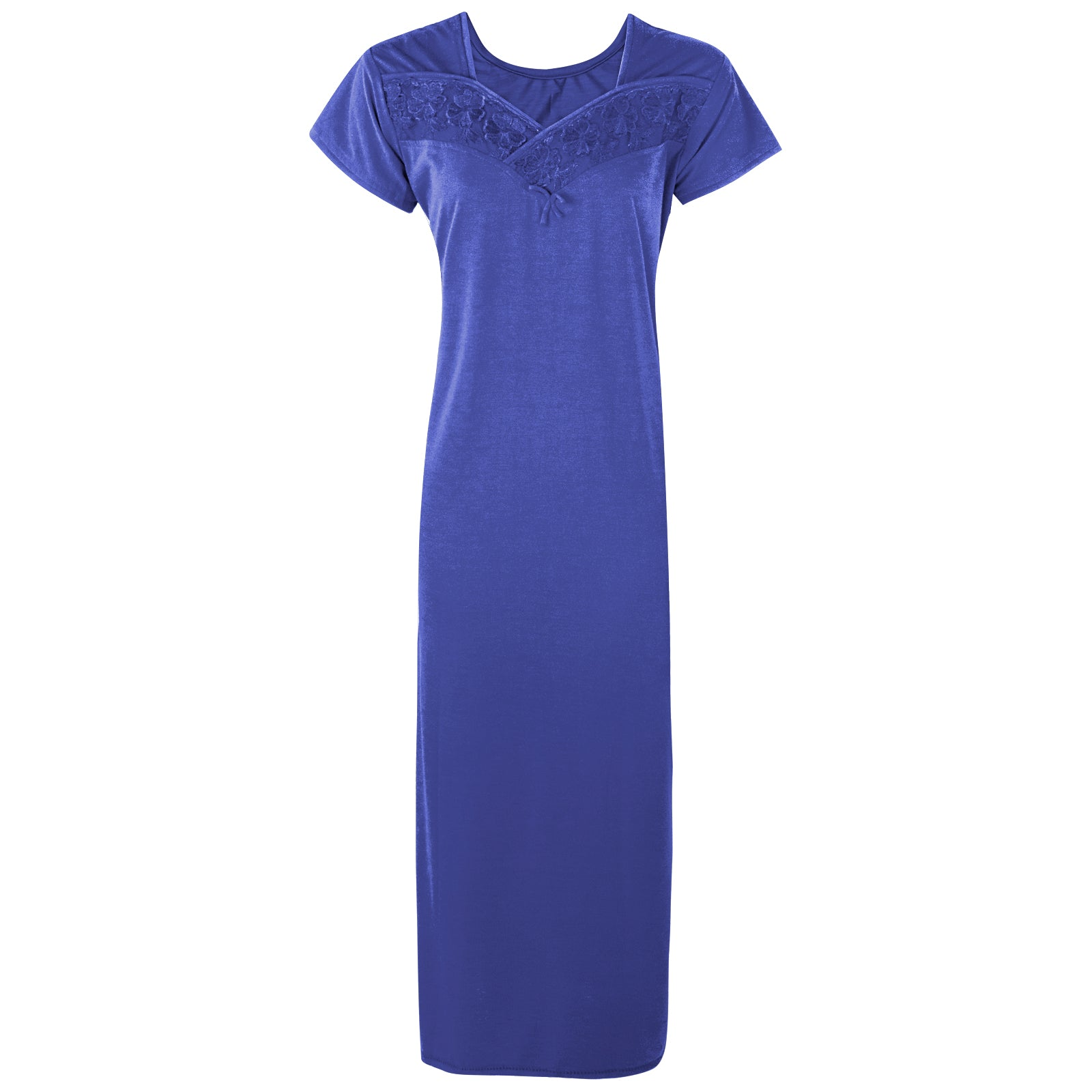 Colour: Blue Cotton Blend Comfy Jersey Nightdress Size: 12-16