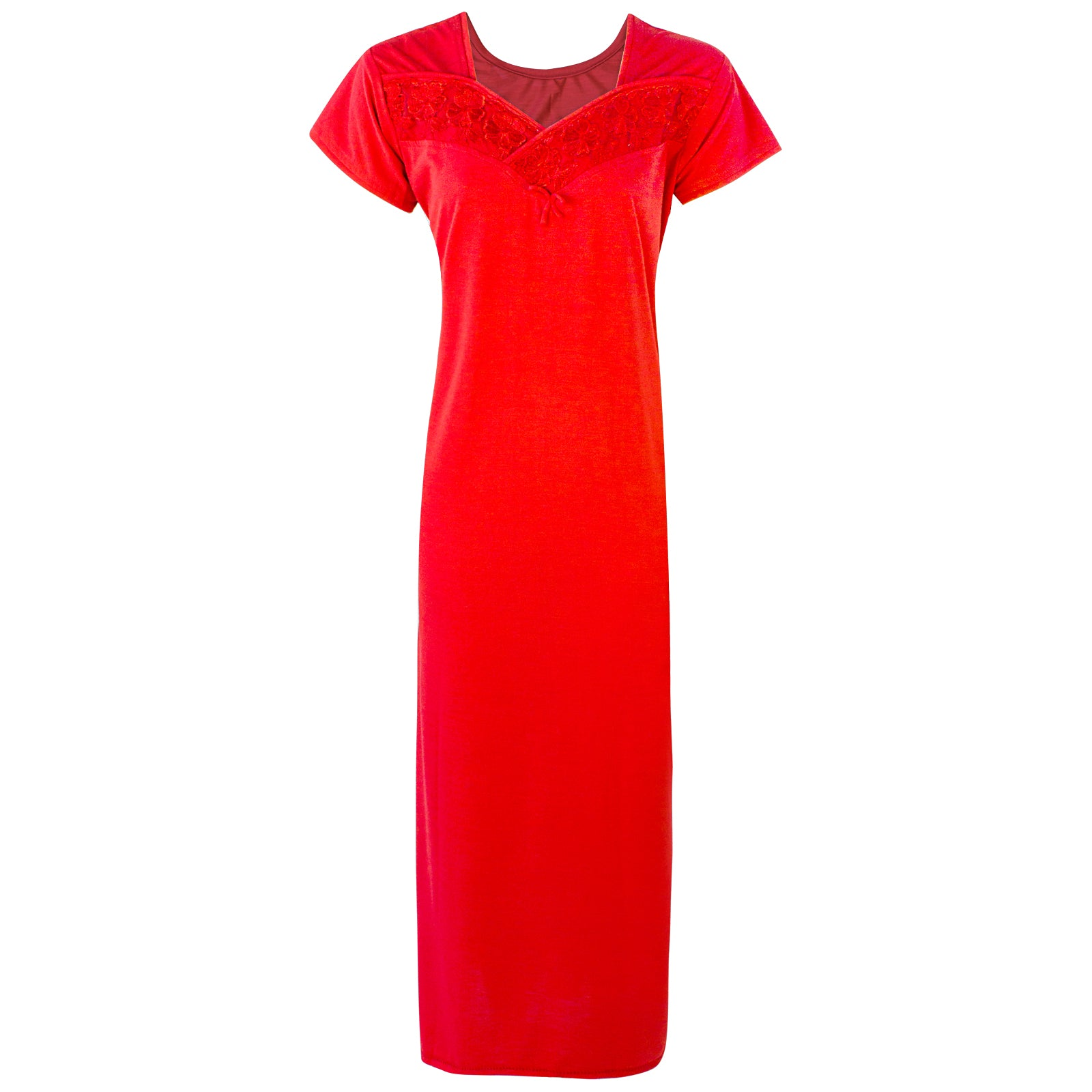 Colour: Red Cotton Blend Comfy Jersey Nightdress Size: 12-16