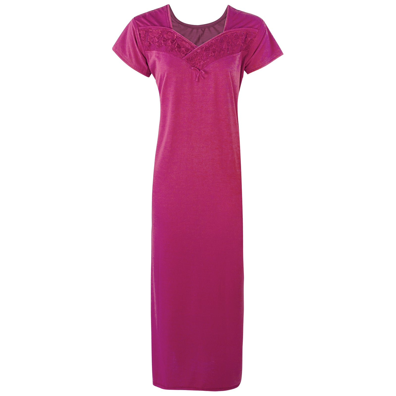 Colour: Wine Cotton Blend Comfy Jersey Nightdress Size: 12-16