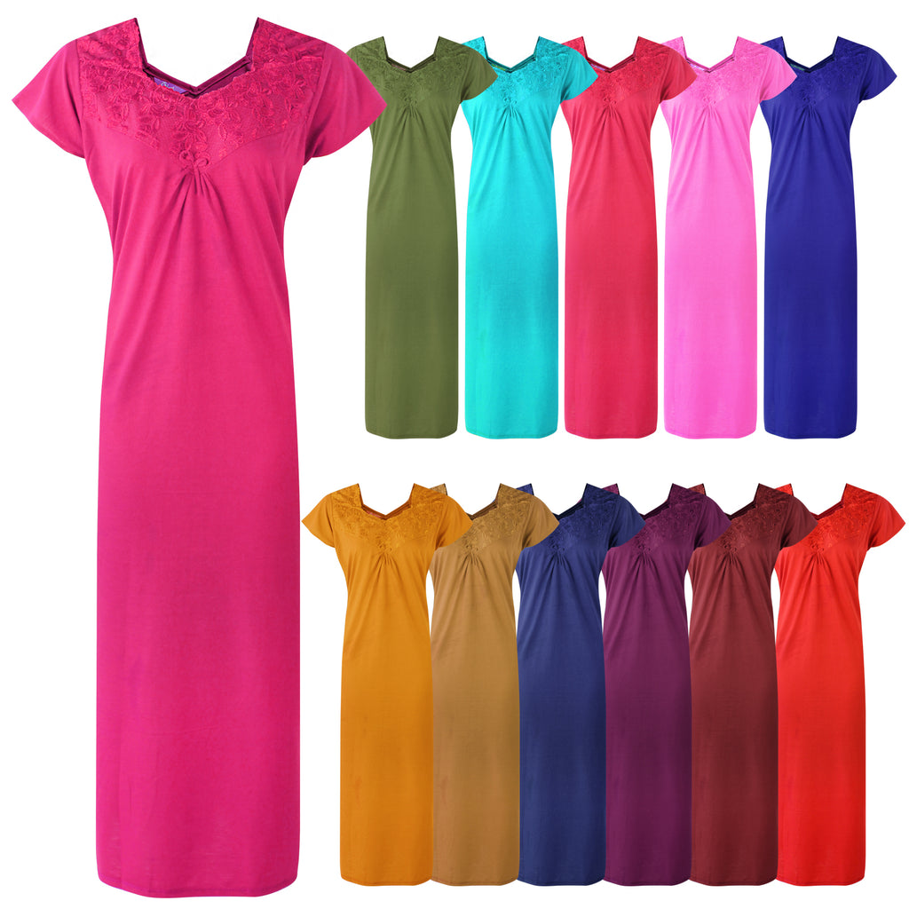 Colour: Stone, Baby Pink, Green, Pink, Teal, Coral, Mustard, Blue, Red, Deep Red, Wine 100% Cotton Sweetheart Neck Short Sleeve Nighty Size: 12-16