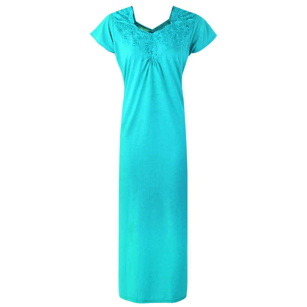 Colour: Teal 100% Cotton Sweetheart Neck Short Sleeve Nighty Size: 12-16