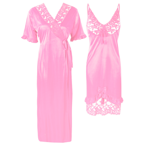 Colour: Baby Pink 2Pcs Women Sexy Silk Satin Sleepwear Lingerie Nightie Nightdress Robe Pajamas UK Size: One Size