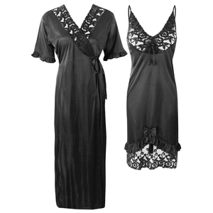 Colour: Black 2Pcs Women Sexy Silk Satin Sleepwear Lingerie Nightie Nightdress Robe Pajamas UK Size: One Size