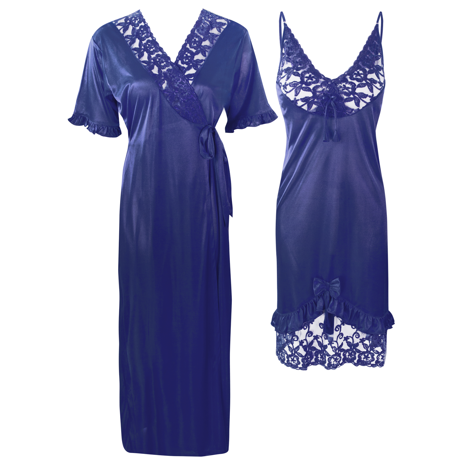 Colour: Navy 2Pcs Women Sexy Silk Satin Sleepwear Lingerie Nightie Nightdress Robe Pajamas UK Size: One Size