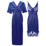 Load image into Gallery viewer, Colour: Navy 2Pcs Women Sexy Silk Satin Sleepwear Lingerie Nightie Nightdress Robe Pajamas UK Size: One Size